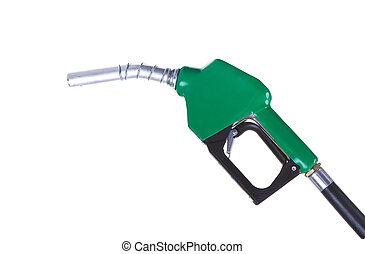 Fuel pump - A green fuel nozzle on a white background