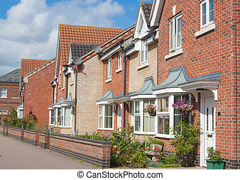 Row of Urban Houses - A row of modern urban houses in...