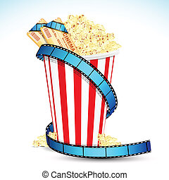 Pop Corn with Movie Ticket - illustration of pop corn bucket...