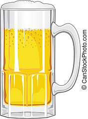 Beer Mug with Beer is an illustration of a glass mug of beer...