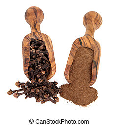 Cloves - Clove spice ground and whole in olive wood scoops...