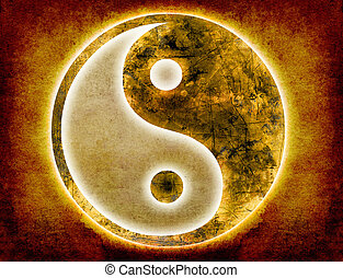 yin and yang background - yin and yang symbol on old paper...