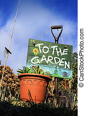 Garden Sign - A portrait format image set at a low angle, of...