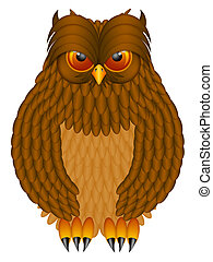 Brown Horned Owl Illustration - Brown Horned Owl with...