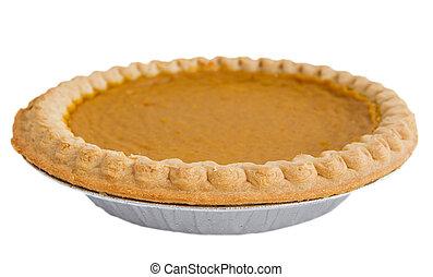 pumpkin pie over white