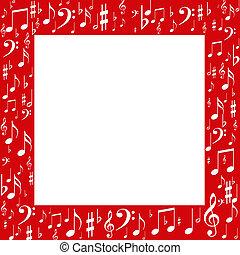 Red frame, white music notes