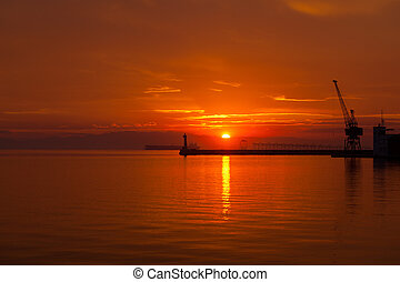Sunset at Thessaloniki - Greece - Sunset at the seaside of...