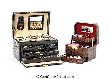cuir, boîte, cosmétique, ou, bijouterie