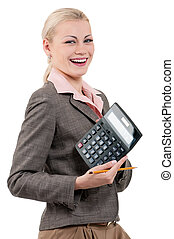 Young businesswoman with calculator - isolated on white...