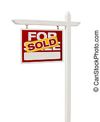 Sold For Sale Real Estate Sign with Clipping Path - Isolated...