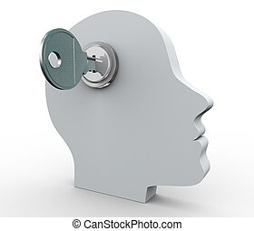 Human head and key - 3d render of human head with key