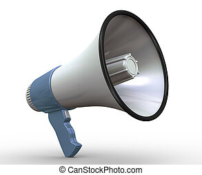 3d megaphone - 3d render of detailed megaphone on white...