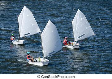 velejando, bote, competição