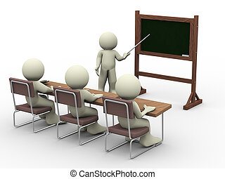 Lesson in classroom - 3d render of teacher with student in...