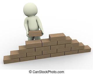 3d man builder - 3d render of man constructing wall with the...