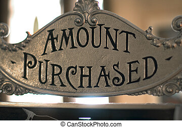 amount purchased sign on cash register - Amount purchased...