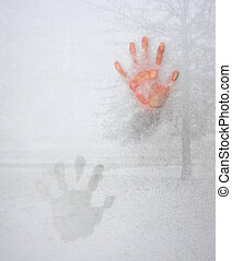 Icy Cold Hand Impression on Window Glass - Frozen fingers...