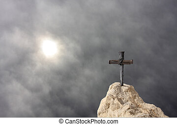 Cross on the Rock - Christian Cross on the Rock Symbolizes...