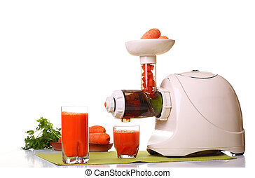 Juice extractor and carrot isolated white kitchen prepare