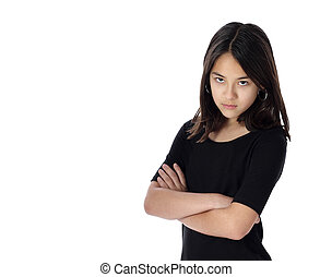 A Determined Young Girl Glares - An angry young girl demands...