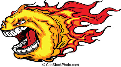 Screaming Fire Ball or Comet Vector - Cartoon Vector Image...