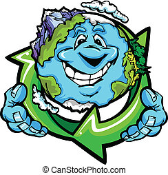 Happy Planet Earth Holding Recycle