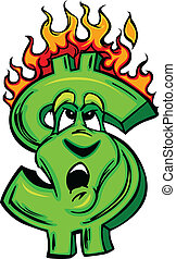Burning Money Cartoon Face - Cartoon Money Sign on fire with...