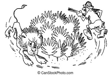 Funny hunting - Hunter chasing lion round bushes