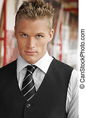 Serious sexy young man - Portrait of an elegant good looking...