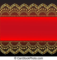 red background with gold(en) pattern and net