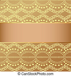 beige background with golden pattern and band for message -...