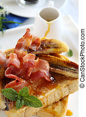 Maple Syrup And Toast - French toast with bacon and...