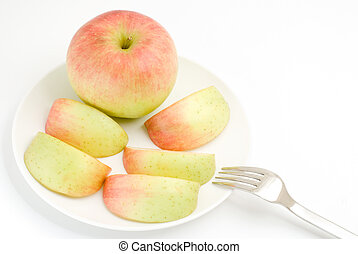 Gradation apple with fork on a white background