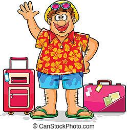 feliz, turista