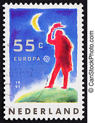 Postage stamp Netherlands 1991 Man and Moon - NETHERLANDS -...