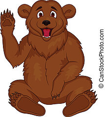 Brown bear cartoon - Vector illustration of brown bear...