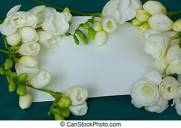 white freesias with blank card on green silk background