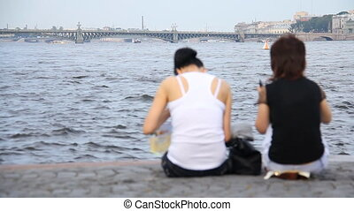 Two women on background of the river - Russia, St....