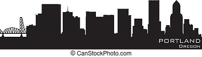 Portland, Oregon skyline. Detailed vector silhouette