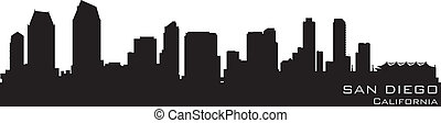 San Diego, California skyline Detailed vector silhouette