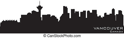Vancouver, Canada skyline. Detailed vector silhouette