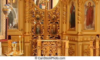 Russian Orthodox Church The interior, icons, candle, life