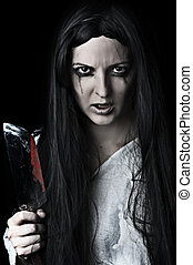 zombie woman on black background - Portrait of a gory and...