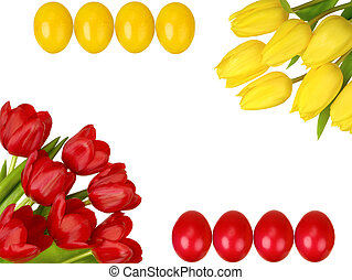 Easter frame with yellow and red tulips and eggs - Studio...