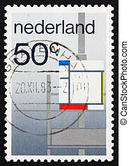 Postage stamp Netherlands 1983 Composition by P. Mondriaan -...