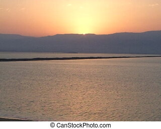Sunrise at Dead Sea - Sunrise at Dead Sea Jordanian hills in...