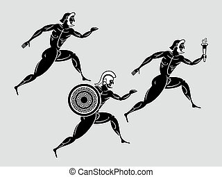 Spartan runners - Ancient greek Sparta runners following the...