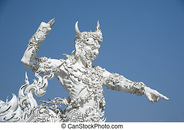 White Temple Chiang Rai Thailand - Close up detail of the...