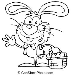 Outlined Waving Bunny With Eggs - Outlined Happy Waving...