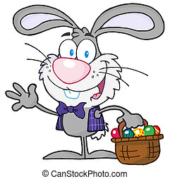 Gray Bunny With Easter Eggs